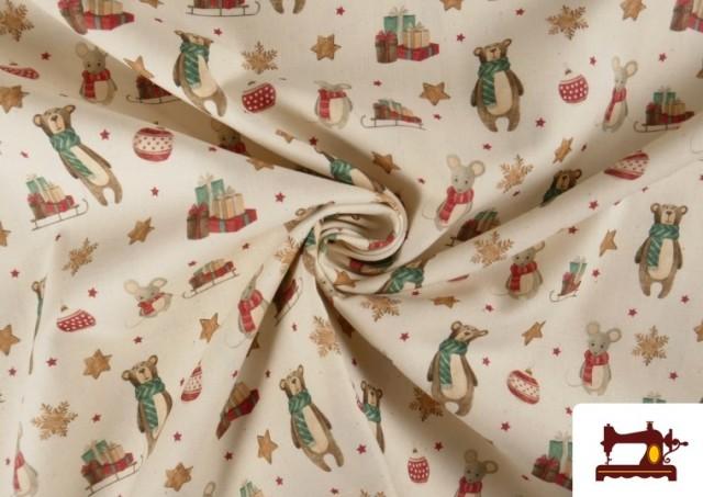 Vente en ligne de Tissu de Noël Imprimé avec Ours en Peluche et Souris