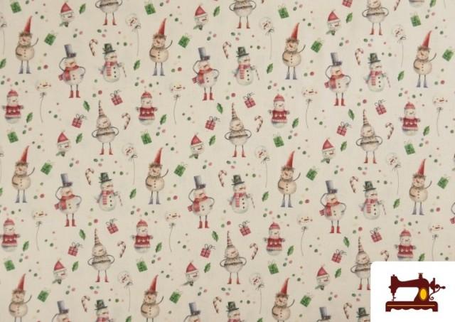 Acheter Tissu en Coton de Noël avec Imprimé Bonhomme de Neige