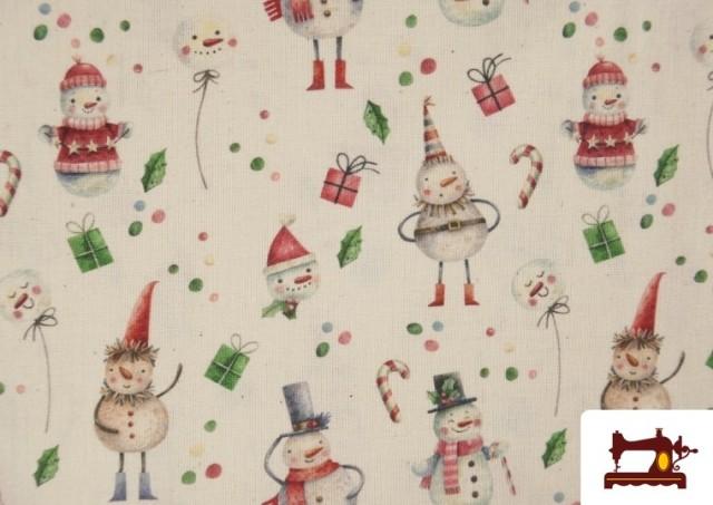 Acheter en ligne Tissu en Coton de Noël avec Imprimé Bonhomme de Neige