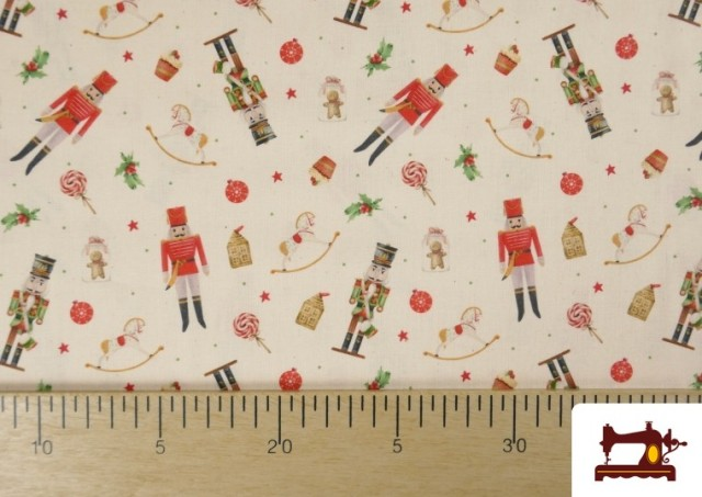 Acheter en ligne Tissu en Coton de Noël avec Imprimé Casse-Noisette