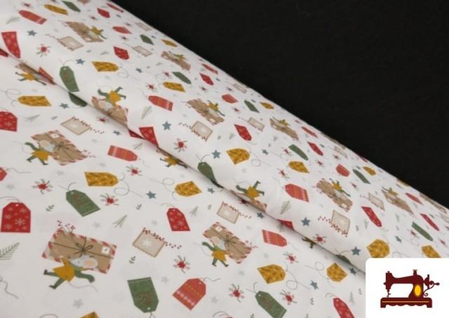 Tissu en Coton Imprimé avec Lettres Désirs de Noël