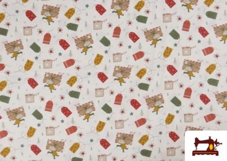 Acheter Tissu en Coton Imprimé avec Lettres Désirs de Noël