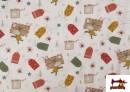 Vente de Tissu en Coton Imprimé avec Lettres Désirs de Noël