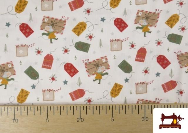 Acheter en ligne Tissu en Coton Imprimé avec Lettres Désirs de Noël