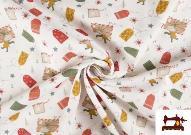 Vente en ligne de Tissu en Coton Imprimé avec Lettres Désirs de Noël