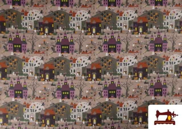 Tissu en Coton Nuit d'Halloween