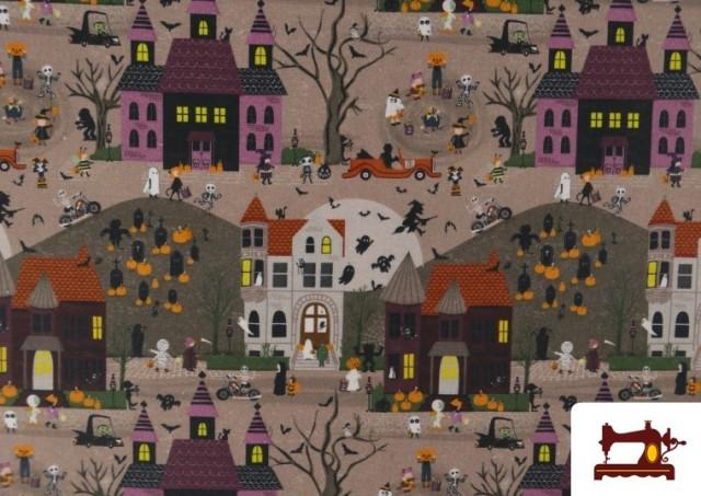 Vente de Tissu en Coton Nuit d'Halloween