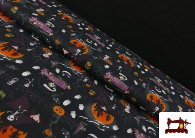 Tissu en Coton avec Squelettes et Fantômes