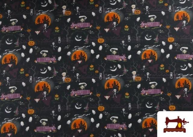 Acheter Tissu en Coton avec Squelettes et Fantômes