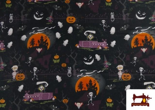 Vente de Tissu en Coton avec Squelettes et Fantômes