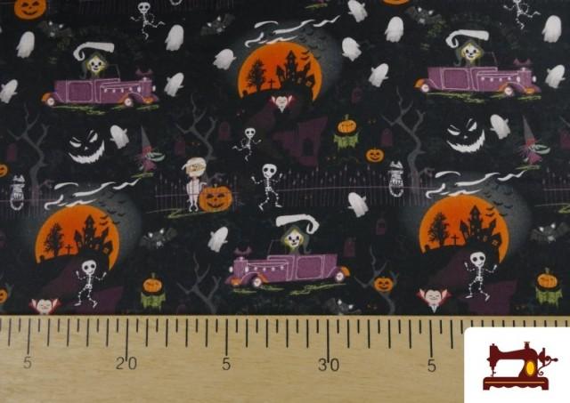 Acheter en ligne Tissu en Coton avec Squelettes et Fantômes