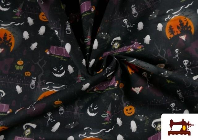 Vente en ligne de Tissu en Coton avec Squelettes et Fantômes