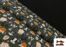 Tissu en Coton de Halloween avec Hiboux et Citrouilles