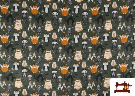 Acheter Tissu en Coton de Halloween avec Hiboux et Citrouilles
