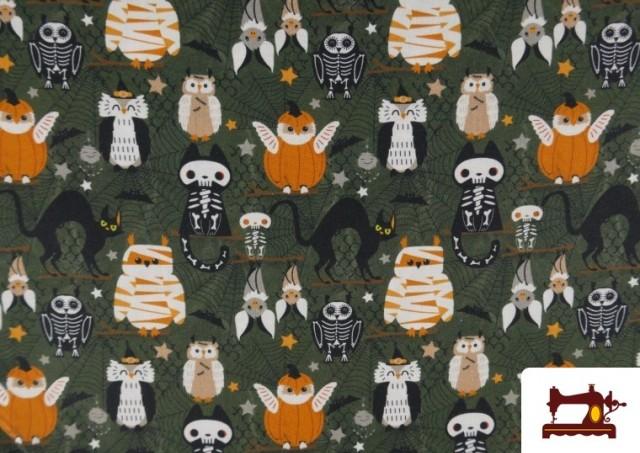 Vente de Tissu en Coton de Halloween avec Hiboux et Citrouilles