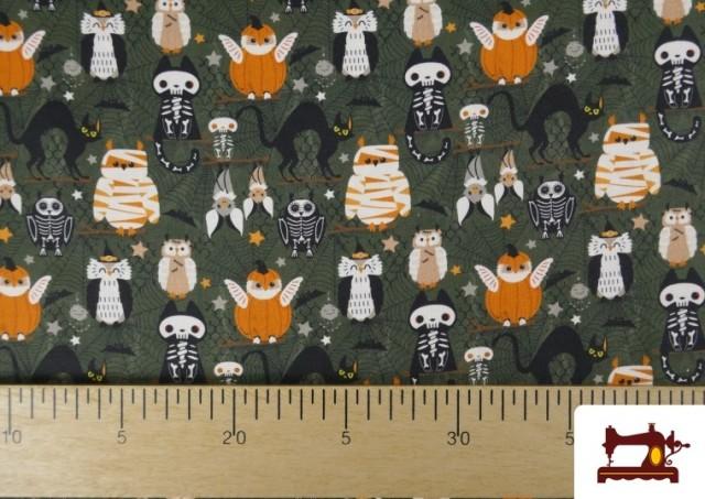 Acheter en ligne Tissu en Coton de Halloween avec Hiboux et Citrouilles