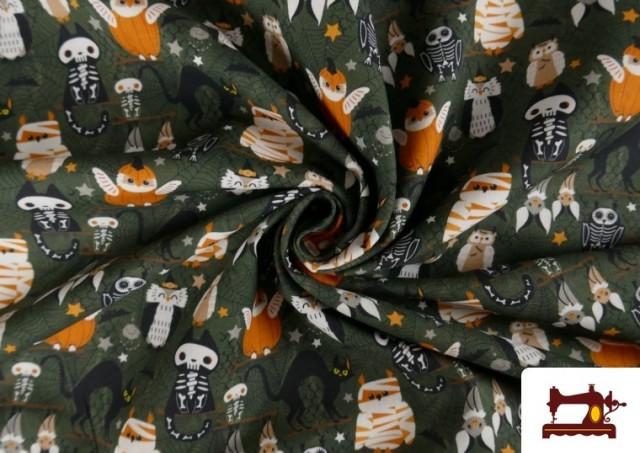Vente en ligne de Tissu en Coton de Halloween avec Hiboux et Citrouilles