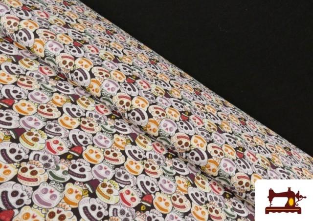 Acheter Tissu en Coton Halloween Imprimé Citrouilles avec Visage