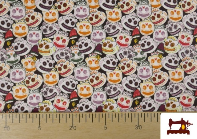 Acheter en ligne Tissu en Coton Halloween Imprimé Citrouilles avec Visage