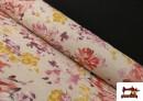 Tissu en Canvas de Fleurs Pivoines de Couleur Pastel