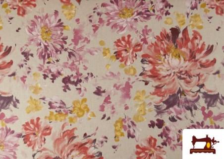 Acheter Tissu en Canvas de Fleurs Pivoines de Couleur Pastel