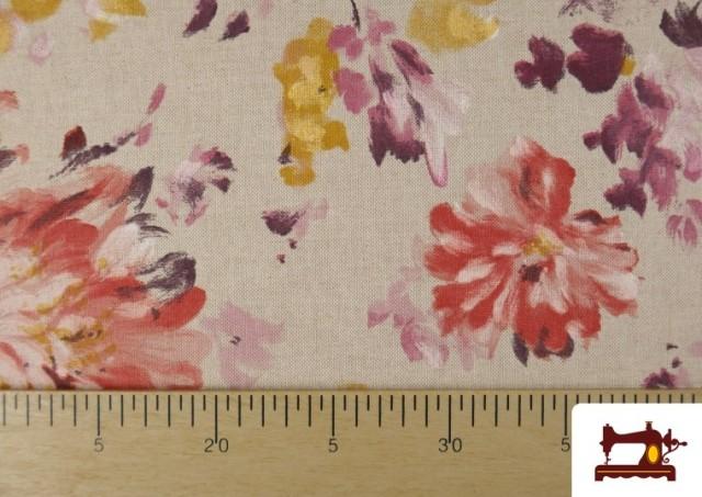Acheter en ligne Tissu en Canvas de Fleurs Pivoines de Couleur Pastel