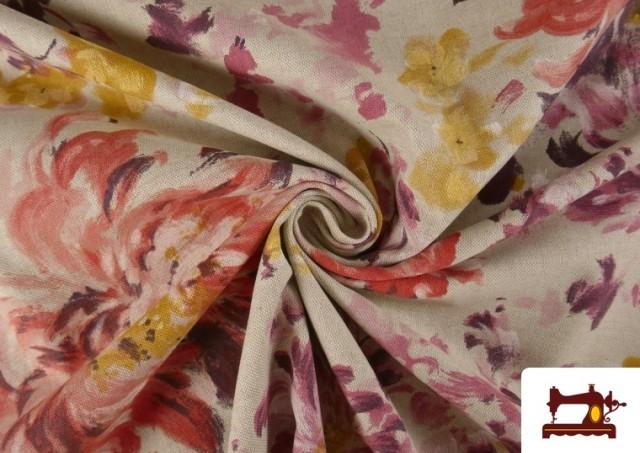 Vente en ligne de Tissu en Canvas de Fleurs Pivoines de Couleur Pastel