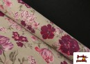Tissu en Canvas avec Fleurs Grenat