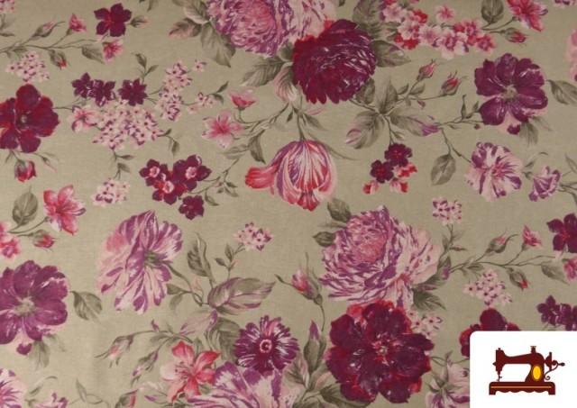 Acheter Tissu en Canvas avec Fleurs Grenat