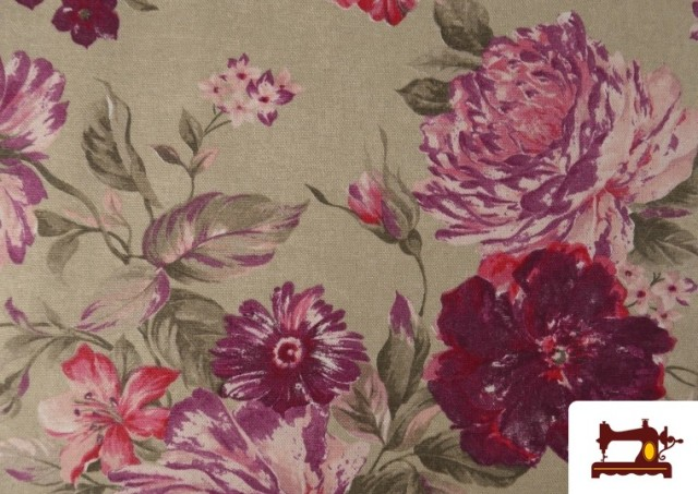 Vente de Tissu en Canvas avec Fleurs Grenat