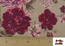 Acheter en ligne Tissu en Canvas avec Fleurs Grenat