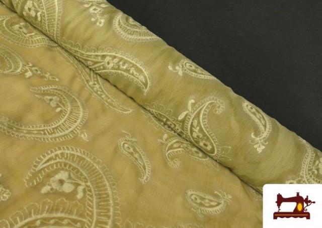 Tissu en Mousseline Brodé avec Cachemire Vert