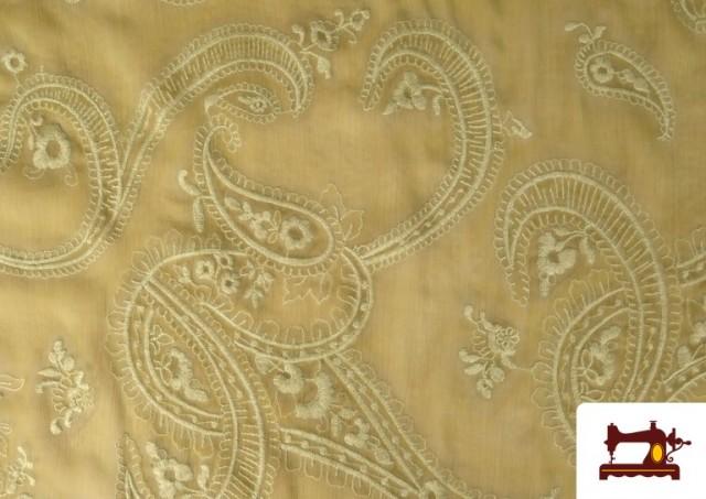 Acheter Tissu en Mousseline Brodé avec Cachemire Vert