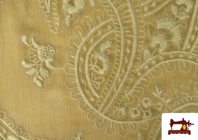 Acheter en ligne Tissu en Mousseline Brodé avec Cachemire Vert