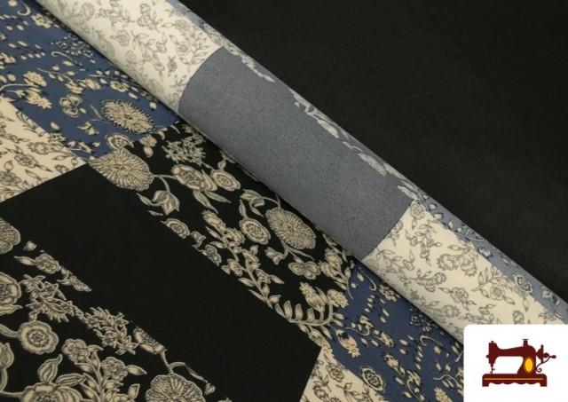 Tissu en Viyella et Viscose avec Imprimé Patchwork de Fleurs