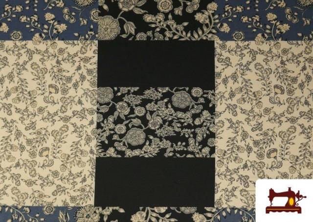 Acheter Tissu en Viyella et Viscose avec Imprimé Patchwork de Fleurs