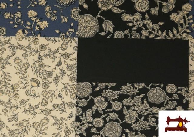 Vente de Tissu en Viyella et Viscose avec Imprimé Patchwork de Fleurs