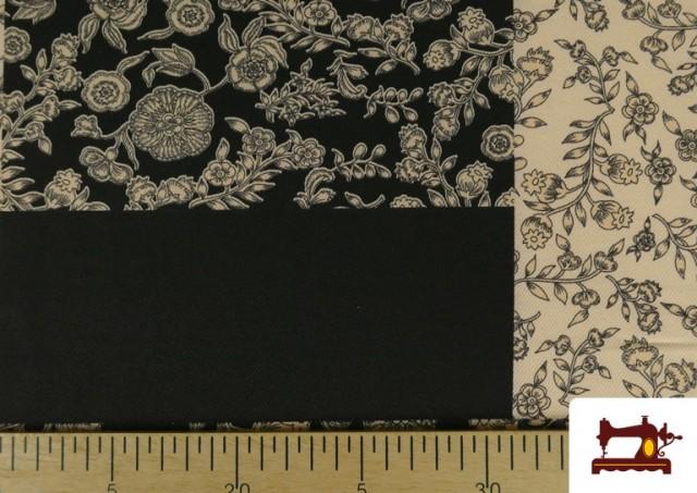 Acheter en ligne Tissu en Viyella et Viscose avec Imprimé Patchwork de Fleurs