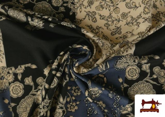 Vente en ligne de Tissu en Viyella et Viscose avec Imprimé Patchwork de Fleurs