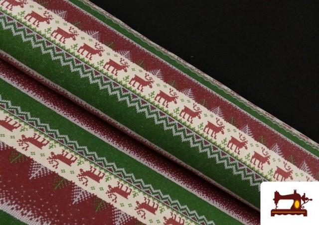 Acheter Tissu en Sweat Imitation Pull de Noël couleur Rouge