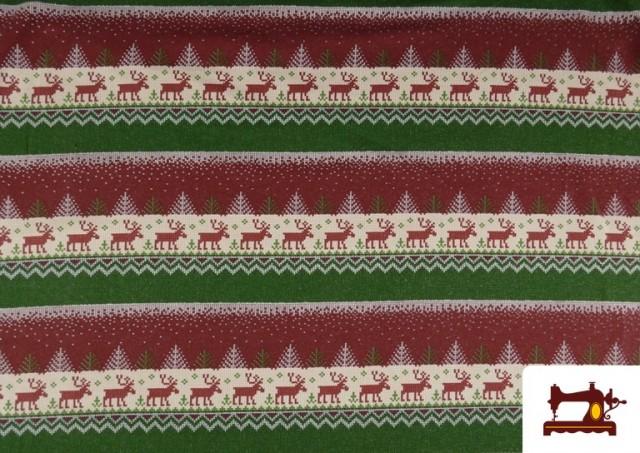 Vente de Tissu en Sweat Imitation Pull de Noël couleur Rouge
