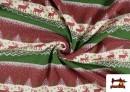 Tissu en Sweat Imitation Pull de Noël couleur Rouge