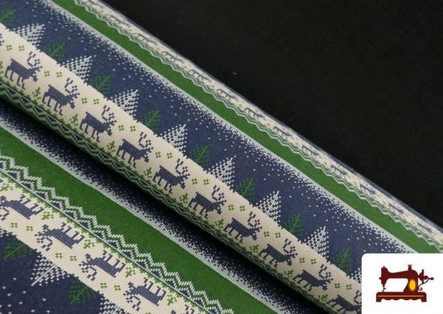 Tissu en Sweat Imitation Pull de Noël couleur Bleu