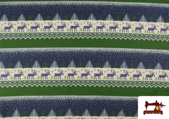 Acheter Tissu en Sweat Imitation Pull de Noël couleur Bleu