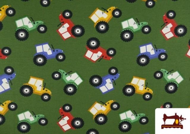 Tissu de T-Shirt Infantile Imprimé avec Tracteurs