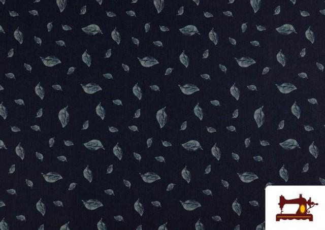 Acheter Tissu en Texan Imprimé avec Feuilles couleur Bleu Marine