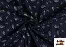 Vente en ligne de Tissu en Texan Imprimé avec Feuilles couleur Bleu Marine