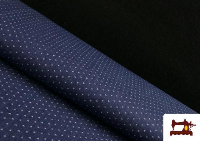 Tissu Texan avec Imprimé Géométrique Triangles couleur Bleu Marine