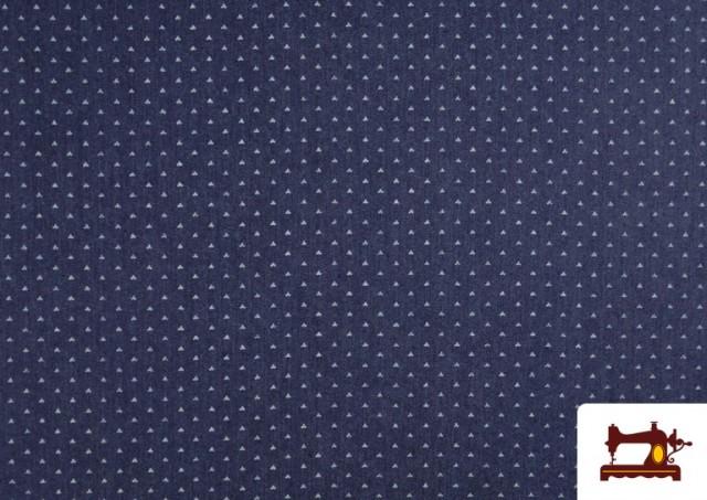 Acheter Tissu Texan avec Imprimé Géométrique Triangles couleur Bleu Marine