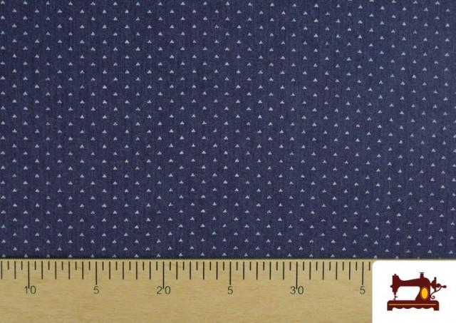 Acheter en ligne Tissu Texan avec Imprimé Géométrique Triangles couleur Bleu Marine